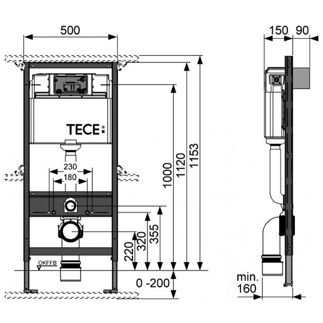 Характеристики Унитаз TOTO CW560 с крышкой-биде QUOSS 6100+инсталляция TECE 4в1