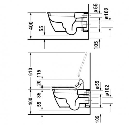 Недорого Унитаз подвесной DURAVIT DARLING NEW 254459 c крышкой-биде DURAVIT SENSO WASH STARCK 610001