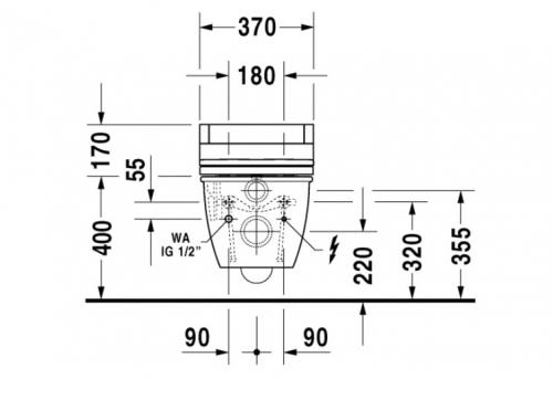 Купить Унитаз подвесной DURAVIT DARLING NEW 254459 c крышкой-биде DURAVIT SENSO WASH STARCK 610001
